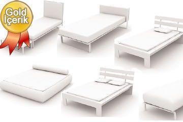 6 adet yatak çizimi (3d yatak tefrişleri)