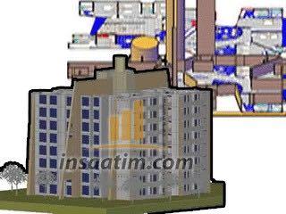 8 katlı 3 boyutlu bina çizimi