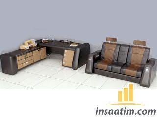 3D Deri Kaplama Ofis Mobilyası Çizimi