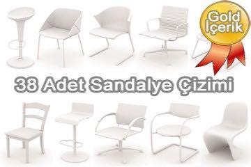 38 adet sandalye çizimi (3d sandalye tefrişleri)