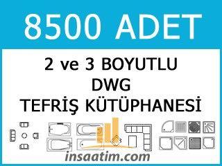 AutoCAD DWG Tefriş Kütüphanesi (8500 Adet)