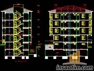 2 adet 2+1 daire üzerine apartman projesi (.dwg)