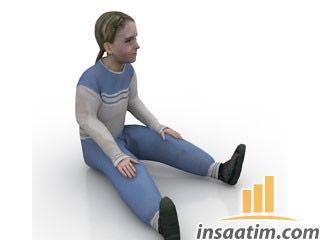 Oturan Kız Çocuğu Çizimi - 3D Model