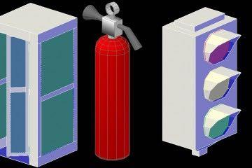 Telefon Kulübesi, Yangın Söndürücü ve Trafik Lambası Çizimi