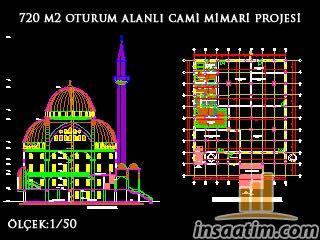 Tek Minareli Camii Mimari Projesi (Ö:1/50 - dwg)