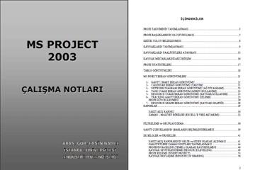 MS Project 2003 Çalışma Notları