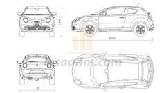 Alfa Romeo Mito Çizimi (dwg)