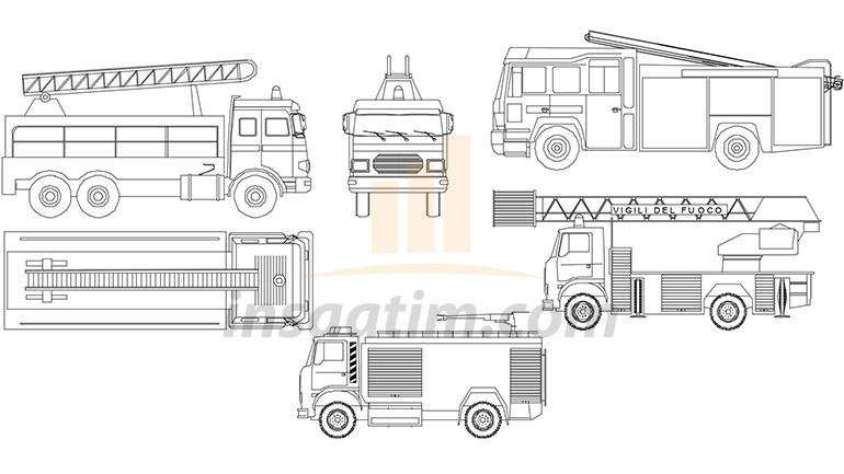 İtfaiye Aracı Çizimi 2 (dwg)