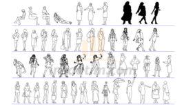 50 Adet 2D Kadın Çizimleri (dwg)