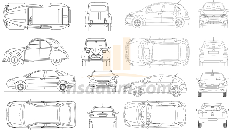 6 Adet Citroën Marka Otomobil Çizimi (dwg)