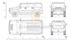 Hummer H2 2002 Model Arazi Aracı Çizimi
