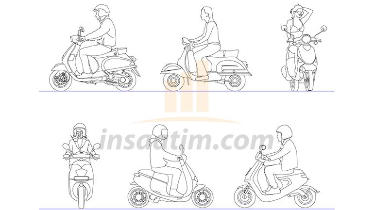 Sürücülü Scooter Çizimi (dwg)