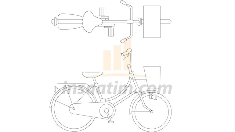 Sepetli Bisiklet Çizimi (dwg)