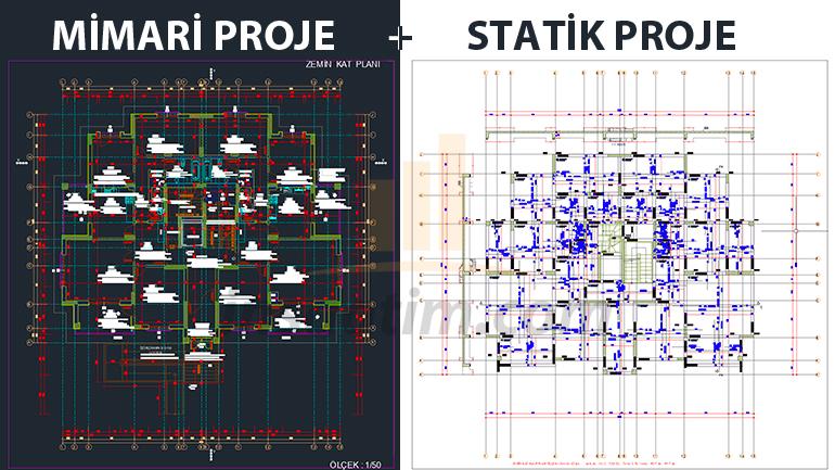 10 Daireli Konut İnşaatı Mimari ve Statik Projeleri
