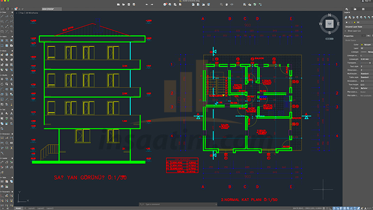 Tek daire üzerine 5 katlı bina mimari projesi (.dwg)