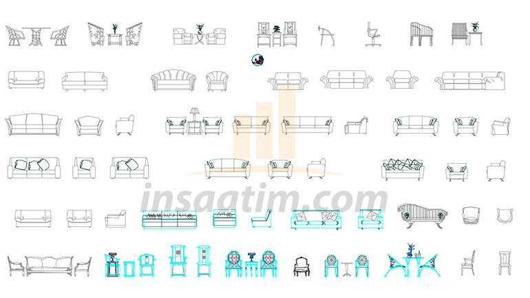 Ücretsiz Dwg Mobilya Tefrişleri (Görünüş ve Plan Çizimleri)