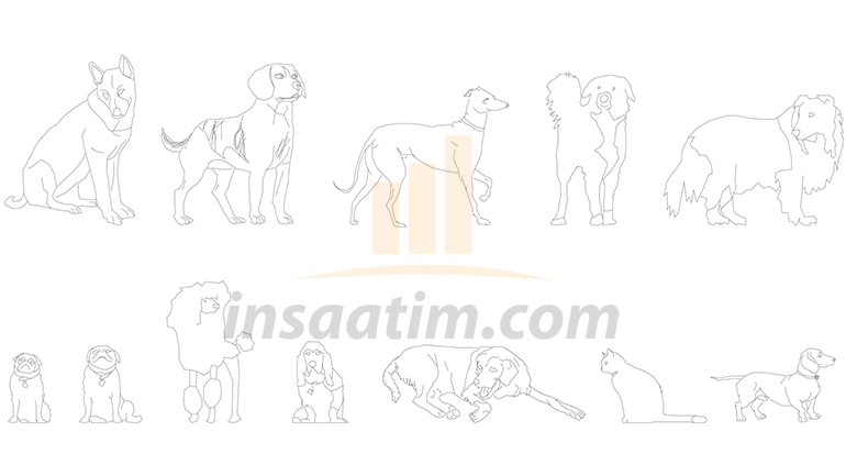 Autocad Kedi ve Köpek Çizimleri (dwg)