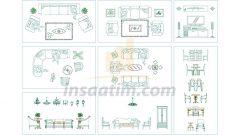 Salon ve Oturma Odası İçin Autocad Tefrişleri