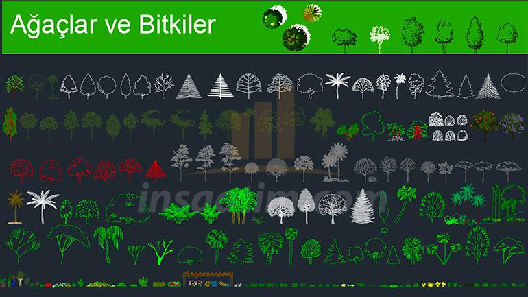 Ücretsiz Ağaç ve Bitki Tefrişleri (AutoCAD)