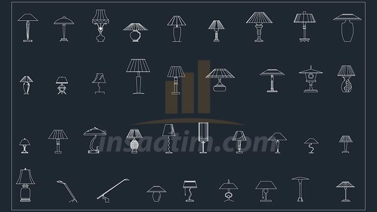 Masa Lambası ve Abajur Çizimleri (dwg)
