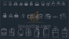 Çanta ve Valiz Görünüş Çizimleri (dwg)